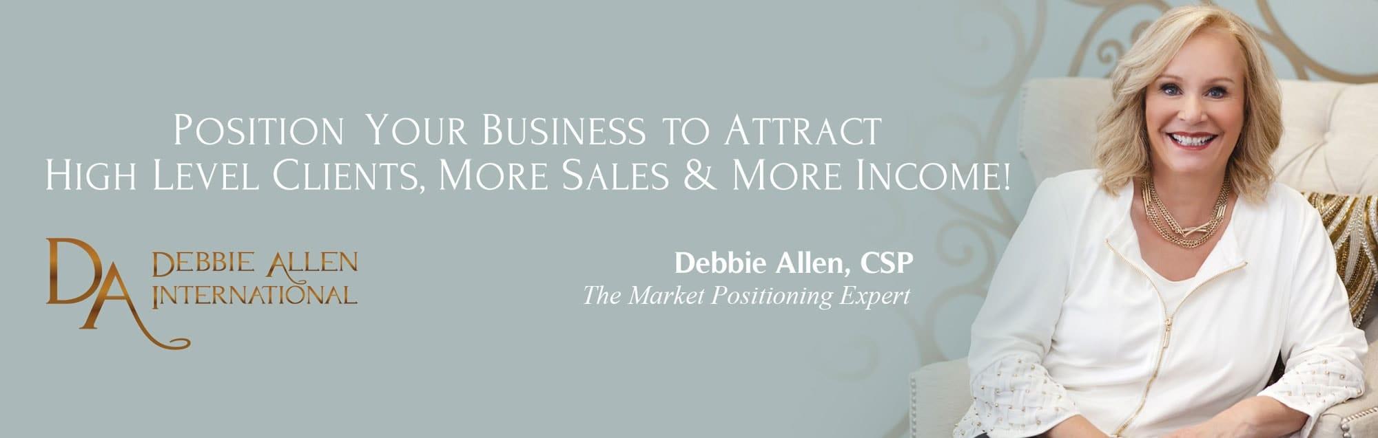 Debbie Allen The Market Position Expert banner